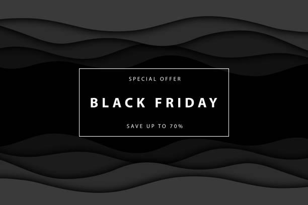 서식 파일 및 레이아웃 장식 흰색 바탕에 검은 금요일 판매 벡터 현실적인 격리 papercut 프로 모션 포스터. 할인 및 특별 제공의 개념입니다. - black friday stock illustrations