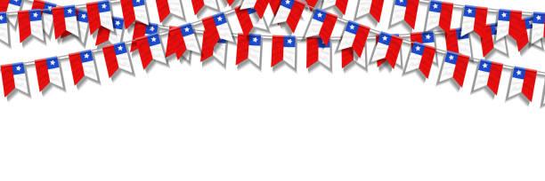 şablon dekorasyon ve beyaz arka plan üzerinde kapsayan davetiye için şili bağımsızlık günü el ilanı için vektör gerçekçi izole parti bayrakları. - şili stock illustrations
