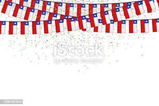 istock Vector realistic isolated party flags for Independence Day in Chile with confetti for decoration and covering on the white background. Concept of Felices Fiestas Patrias. 1038187644