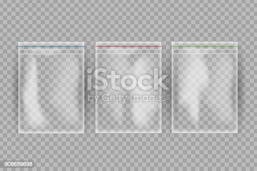 istock Vector realistic isolated plastic bags for food on the transparent background. 908689698