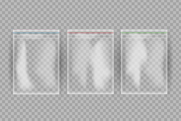 realistische vektor isoliert plastiktüten für lebensmittel auf dem transparenten hintergrund. - vakuumverpackung stock-grafiken, -clipart, -cartoons und -symbole