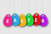 Vector realistic isolated price tags for Easter sale for template decoration and mockup covering on the transparent background. Concept of Happy Easter.