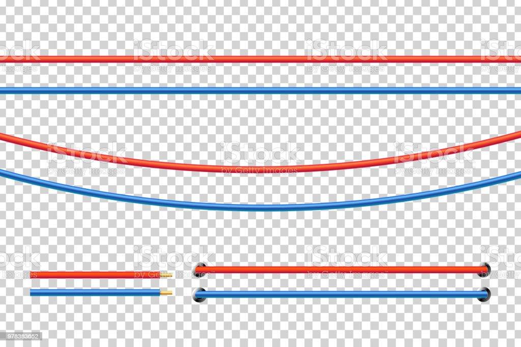 Realistische Vektor Isoliert Rot Und Blau Elektrische Kabel Für ...
