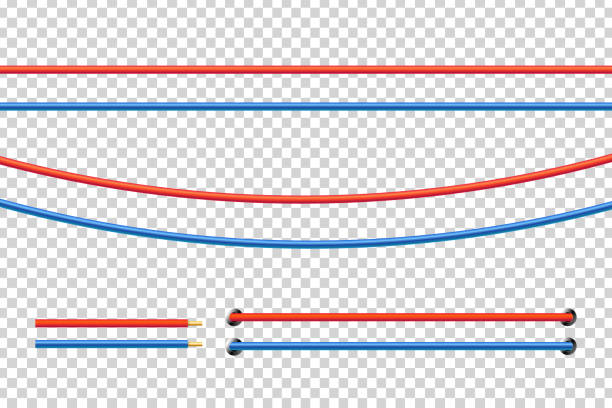 Vector realistic isolated red and blue electrical cable for decoration and covering on the transparent background. Concept of flexible network wires, electronics and connection. Vector realistic isolated red and blue electrical cable for decoration and covering on the transparent background. Concept of flexible network wires, electronics and connection. cable stock illustrations