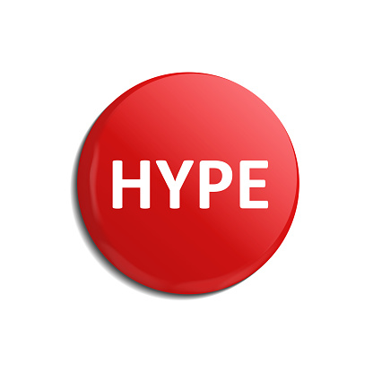 Vector realistic isolated red hype button on the white background. Concept of social media and popularity.