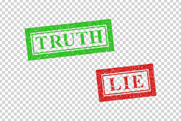 Vector realistic isolated red rubber stamp of Truth and Lie logo for template decoration on the transparent background. Vector realistic isolated red rubber stamp of Truth and Lie logo for template decoration on the transparent background. dishonesty stock illustrations