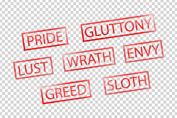 Vector realistic isolated red stamps of seven deadly sins for decoration and covering on the transparent background. Vector realistic isolated red stamps of seven deadly sins for decoration and covering on the transparent background. seven deadly sins stock illustrations