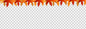 Vector realistic isolated red, yellow and orange maple and oak falling leaves seamless pattern border for decoration and covering. Concept of Happy Autumn.
