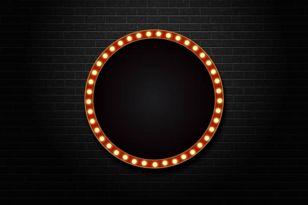 Vector realistic isolated retro circle neon billboard for decoration and covering on the wall background. vector art illustration