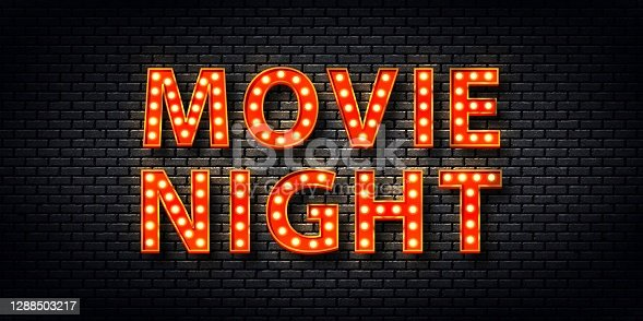 istock Vector realistic isolated retro marquee billboard with electric light lamps of Movie Night logo for template decoration and covering on the wall background. 1288503217