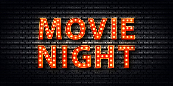 Vector realistic isolated retro marquee billboard with electric light lamps of Movie Night logo for template decoration and covering on the wall background.