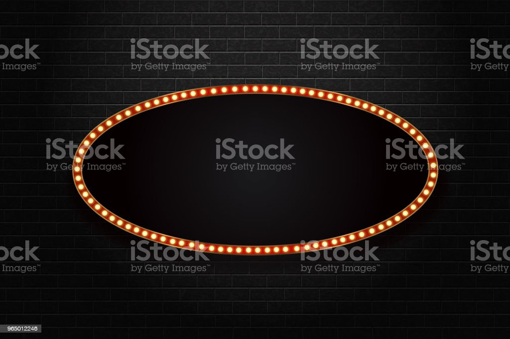 Vector realistic isolated retro oval neon billboard for decoration and covering on the wall background. Concept of broadway and marquee. vector art illustration