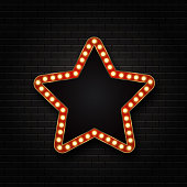 Vector realistic isolated retro star sign neon billboard on the transparent background. Template for vintage decoration and signboard.