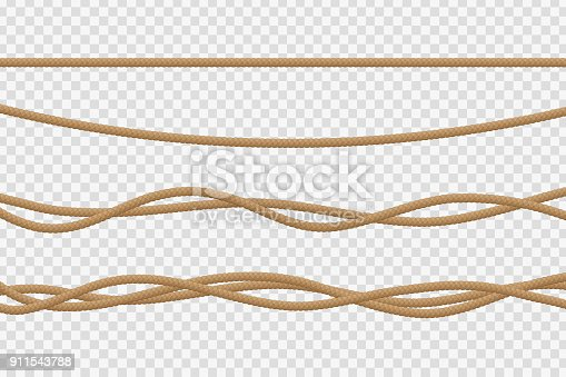 istock Vector realistic isolated rope for decoration and covering on the transparent background. 911543788