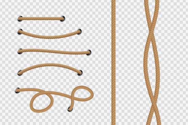 stockillustraties, clipart, cartoons en iconen met realistische vector geïsoleerd touw voor decoratie en bekleding op de transparante achtergrond. - touw