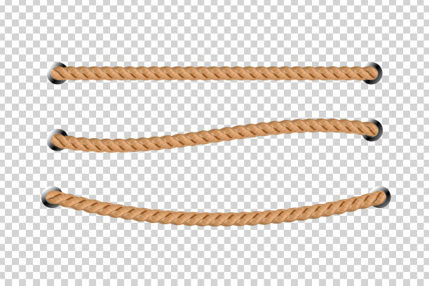vector realistic isolated rope for decoration and covering on the transparent background. - sznurek stock illustrations