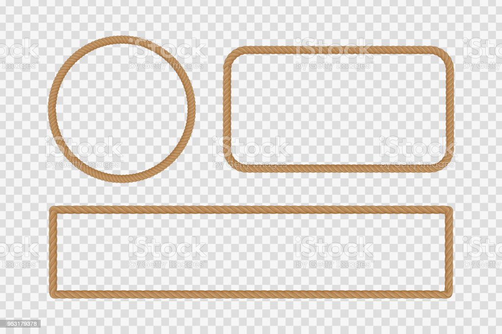 Vector realistic isolated rope frames for decoration and covering on the transparent background.