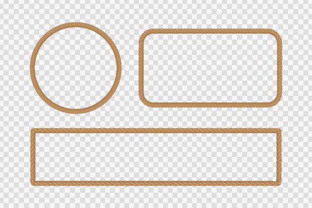 stockillustraties, clipart, cartoons en iconen met realistische vector geïsoleerd touw frames voor decoratie en bekleding op de transparante achtergrond. - touw