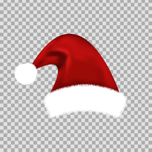 Vector realistic isolated Santa Claus hat for decoration and covering on the transparent background. Concept of Merry Christmas and Happy New Year. Vector realistic isolated Santa Claus hat for decoration and covering on the transparent background. Concept of Merry Christmas and Happy New Year. santa hat stock illustrations