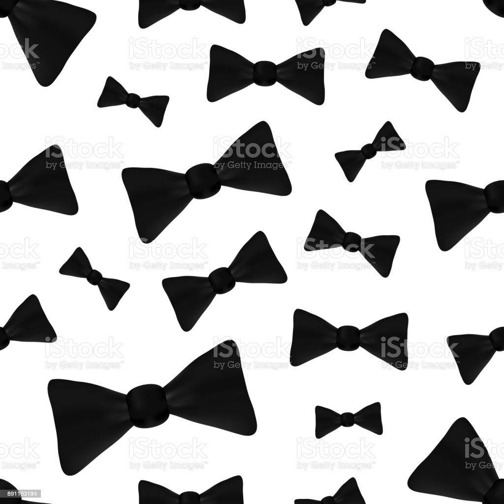 Vector realistic isolated seamless pattern with bow tie on the white background. vector art illustration
