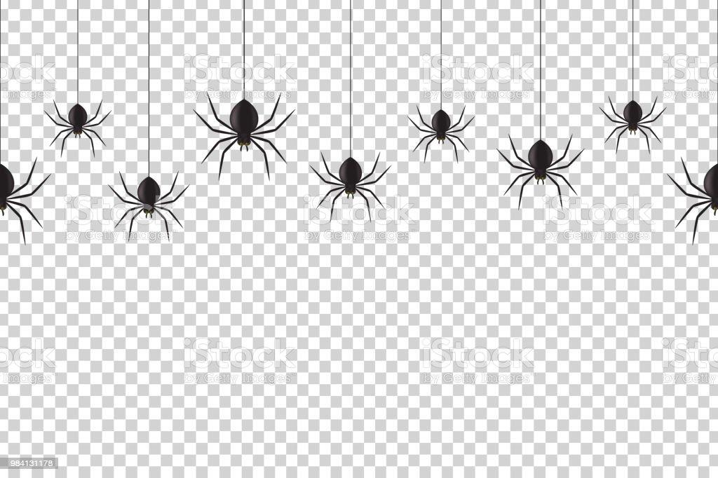 Vektor Realistische Isoliert Musterdesign Mit Hangenden Spinnen Fur
