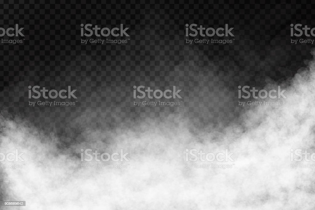 Vector realistic isolated smoke effect on the transparent background. vector art illustration