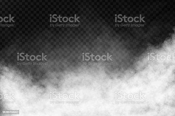 Vector realistic isolated smoke effect on the transparent background.