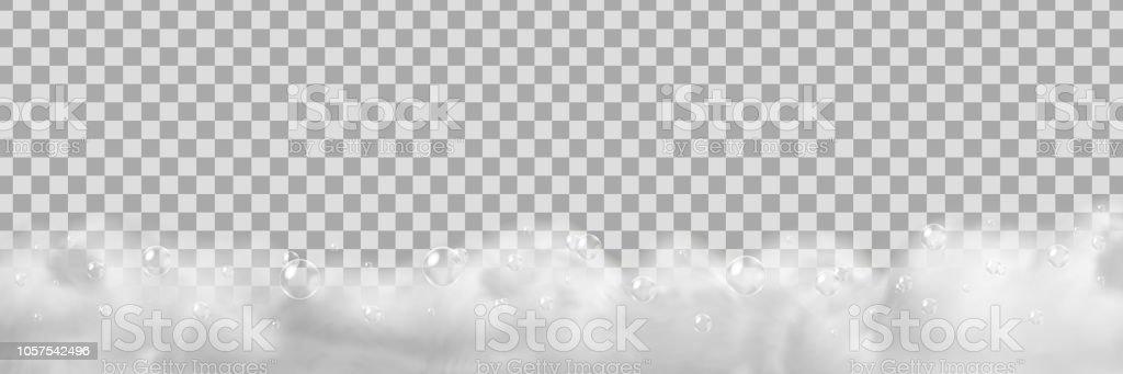 Vector realista isolado da espuma de sabão para a decoração e cobertura no plano de fundo transparente. - ilustração de arte em vetor