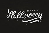 Vector realistic isolated typography for Halloween and spiders for decoration and covering on the dark background. Concept of Happy Halloween.