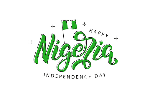 Vector realistic isolated typography logo for Happy 1st October Nigeria Independence Day with thin line design for decoration and covering on the white background.
