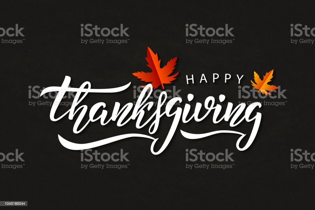 Vector realistic isolated typography logo for Happy Thanksgiving Day with autumn leaves for decoration and covering on the chalk background. vector art illustration