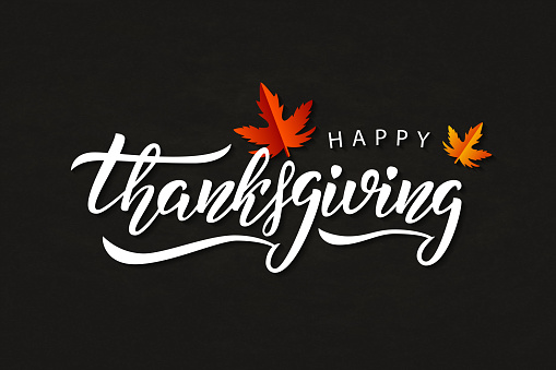Vector Realistic Isolated Typography Logo For Happy Thanksgiving Day With Autumn Leaves For Decoration And Covering On The Chalk Background - Stockowe grafiki wektorowe i więcej obrazów Baner