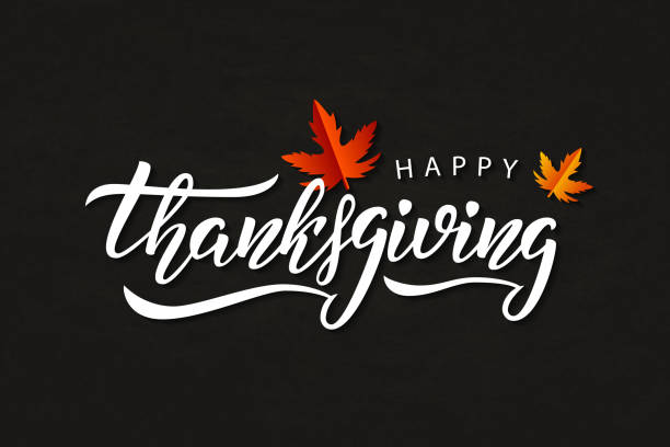 vector realistic isolated typography logo for happy thanksgiving day with autumn leaves for decoration and covering on the chalk background. - thanksgiving stock illustrations