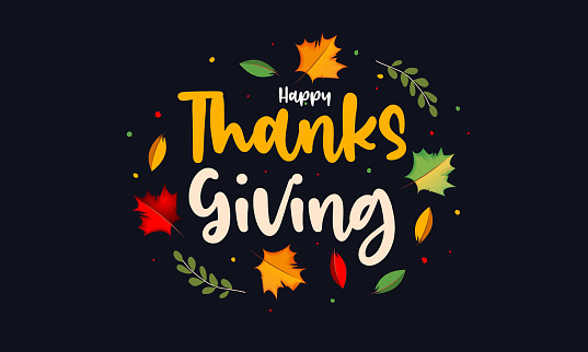 Vector realistic isolated typography logo for Happy Thanksgiving Day with autumn leaves for decoration and covering on the dark background.