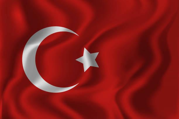"""stockillustraties, clipart, cartoons en iconen met realistische vector geïsoleerd zwaaien turkse vlag achtergrond voor decoratie en beslaat. begrip """""""" gelukkig zafer bayrami, dag van de overwinning in turkije. - turkse etniciteit"""