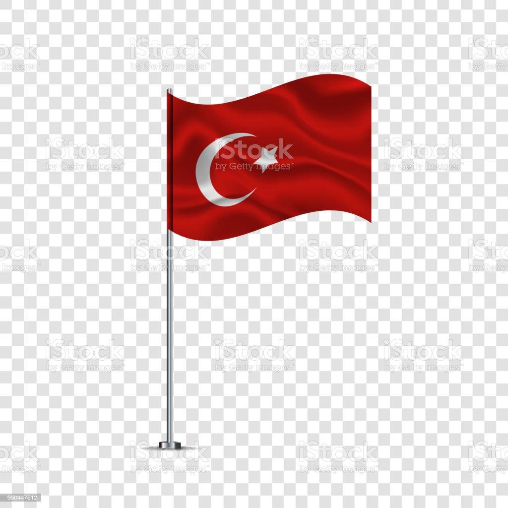 Realistische Vektor isoliert wehende türkische Flagge für Dekoration und decken auf dem transparenten Hintergrund. – Vektorgrafik