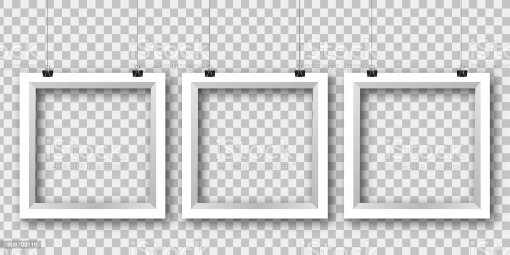 Vector Realistic Isolated White Frames On The Transparent Background ...