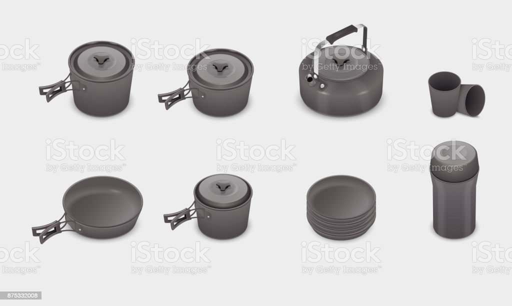 Vector realistic kitchen cookware set vector art illustration