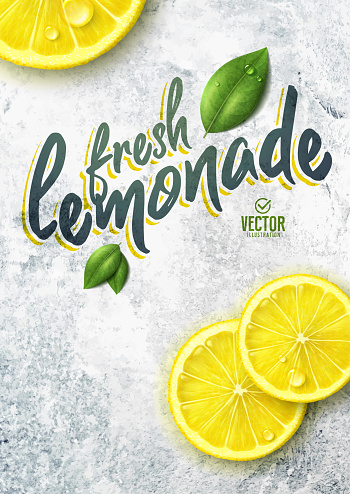 Vector realistic lemon illustration and leaves on white stone background