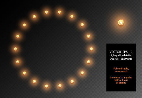Vector realistic light bulb translucent isolated design element. Glow lamps circle shape frame on transparent background. Illuminated round banner. Glowing lights billboard for advertising