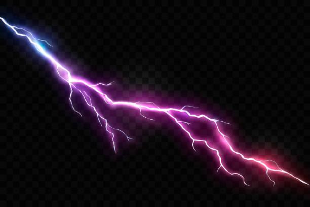 벡터 현실적인 번개와 빛나는 천둥 볼트 - lightning stock illustrations