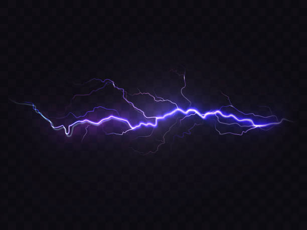 Vector realistic lightning, purple thunderstorm, design element Vector realistic lightning isolated on black background. Natural light effect, bright glowing. Magic purple thunderstorm, design element thunderstorm stock illustrations