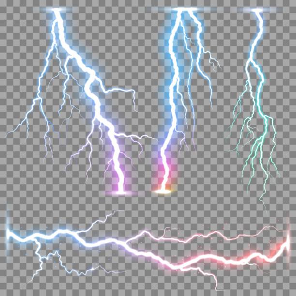 Vector realistic lightnings thunderbolt Vector realistic lightnings thunderbolt on transparent background. forked lightning stock illustrations