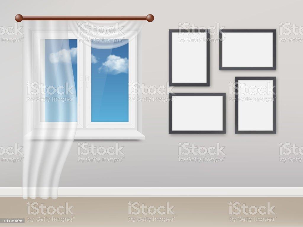 Weiße Kunststofffenster vektor realistische wohnzimmer mit weißen kunststofffenster und