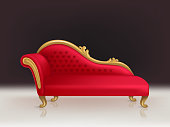 Vector realistic luxurious red velvet sofa with golden carved legs on black background. Gilded antique royal couch in victorian style. Interior concept, vintage settee