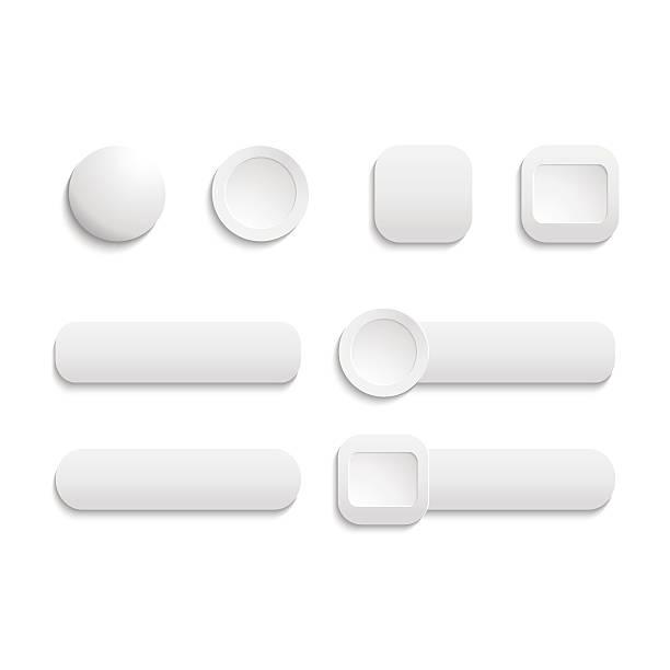 vector  realistic matted white color web  buttons  symbol set is - 按鈕 幅插畫檔、美工圖案、卡通及圖標