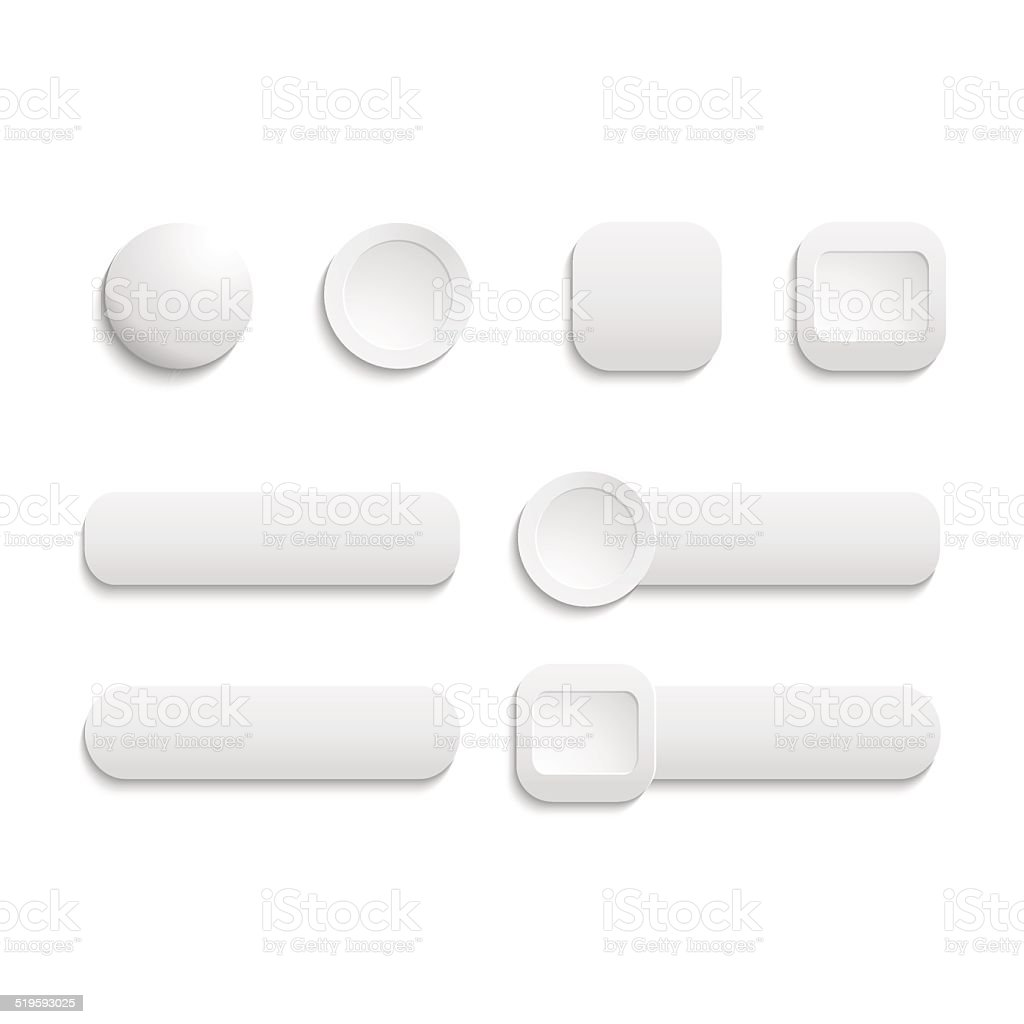 Vector  realistic Matted white color Web  buttons  symbol set is vector art illustration