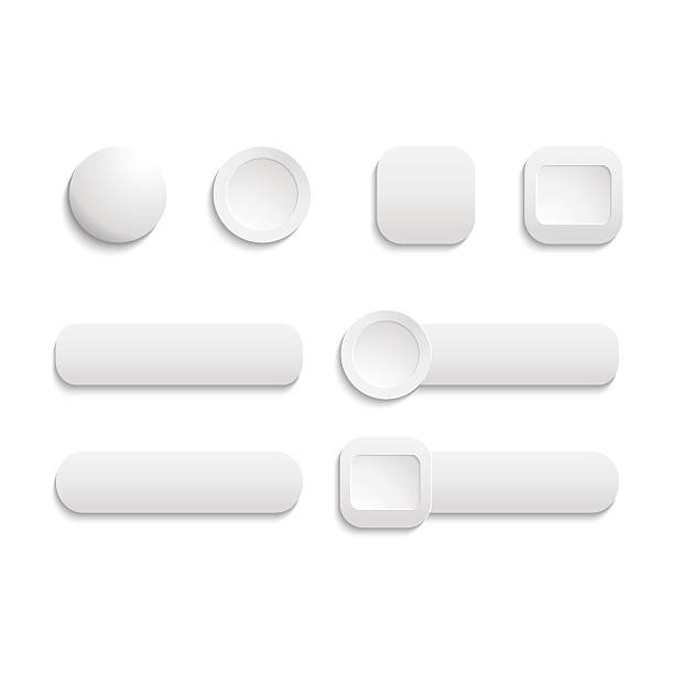 vector  realistic matted white color web  buttons  symbol set is - 按鈕 幅插畫檔、美工圖案、卡通及圖標