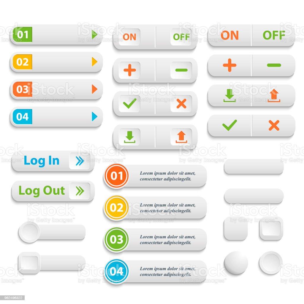 Vetor realista montada cor botões em branco da Web símbolo conjunto é - Vetor de Aplicação móvel royalty-free