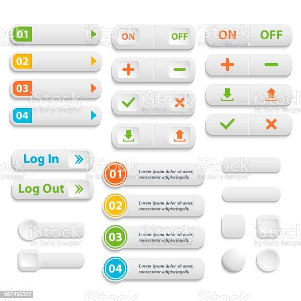 Vetores de Vetor Realista Montada Cor Botões Em Branco Da Web Símbolo Conjunto É e mais imagens de Aplicação móvel